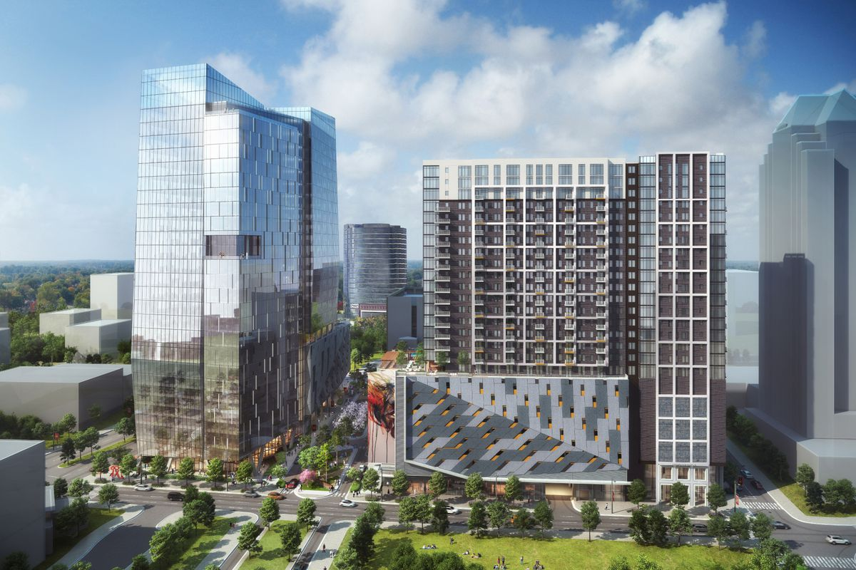 A rendering shows a tall, segmented, and glassy tower shooting up from a pedestrian plaza, neighboring a more stout, conventional looking building.