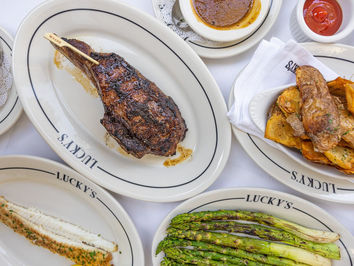 Lucky's Malibu with steaks, asparagus,and other sides.