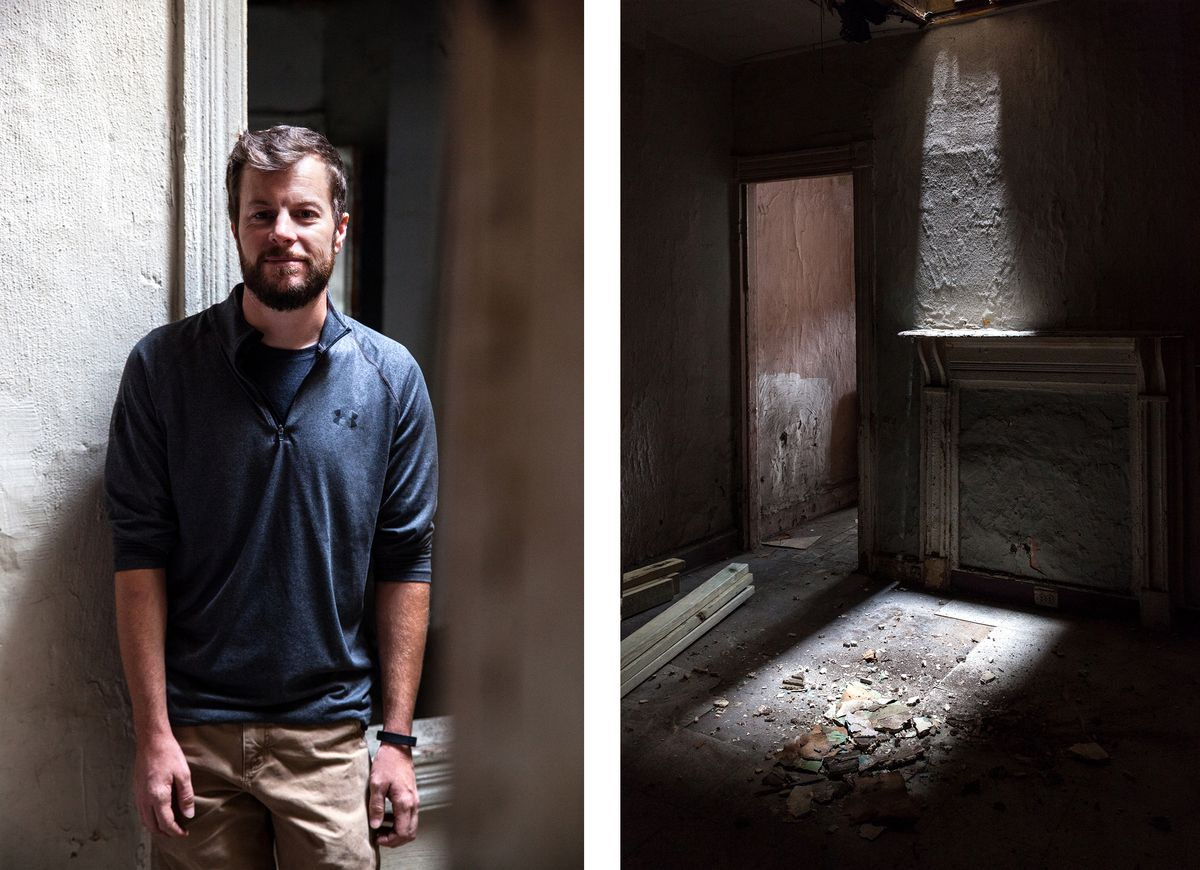 Left: Shea Fredericks, who buys and renovates vacants in Baltimore. Right: A fireplace in a room of a vacant that will be restored.