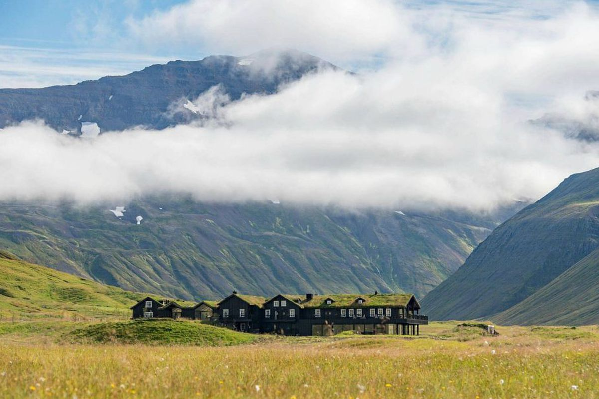 sheep farm turned grass-covered retreat in Iceland