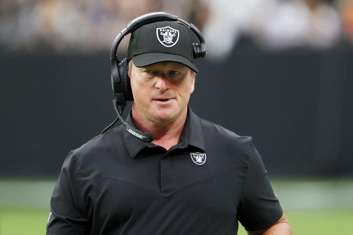 Jon Gruden coaches the Raiders against the Bears on Sunday.