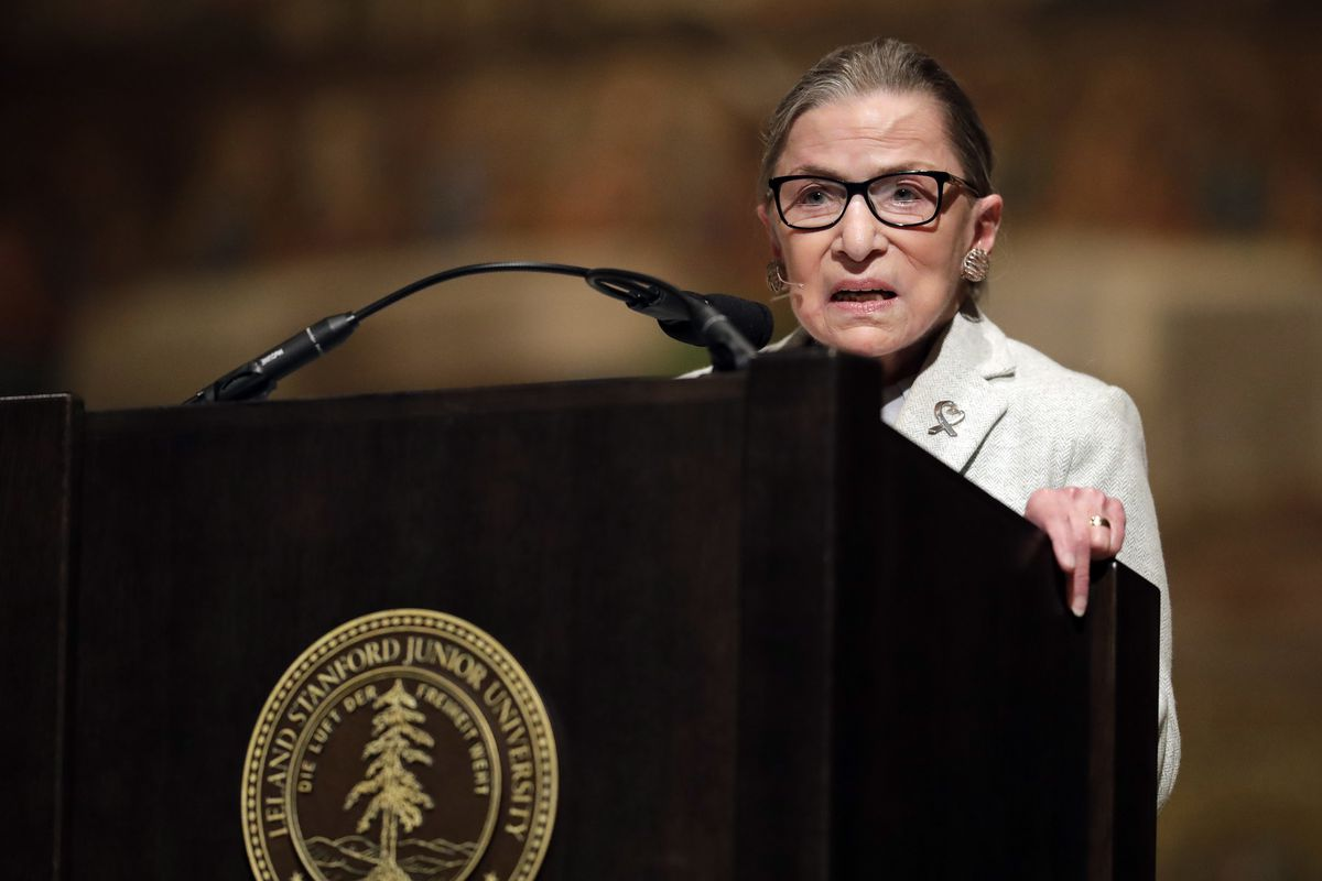 U.S. Supreme Court Justice Ruth Bader Ginsburg speaks during a visit to Stanford University on February 6, 2017.