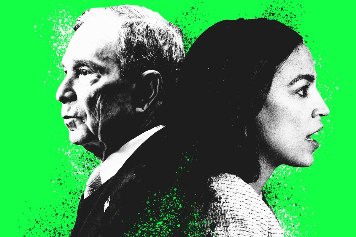 Michael Bloomberg back-to-back with Alexandra Ocasio-Cortez