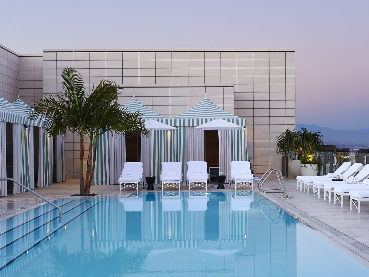 rooftop pool and cabanas at Waldorf Astoria Beverly Hills