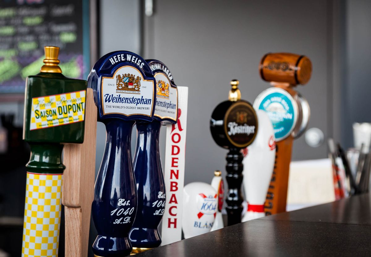 Beer taps at the rooftop bar.