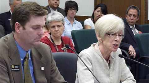 Jane Urschel of the Colorado Association of School Boards (right) critiqued the parent trigger bill by Rep. Don Beezley, R-Broomfield, (left) during a committee hearing March 14, 2011.