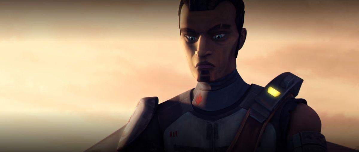 Saw Gerrera looks down as Jedi enter his rebel camp in Star Wars: The Clone Wars