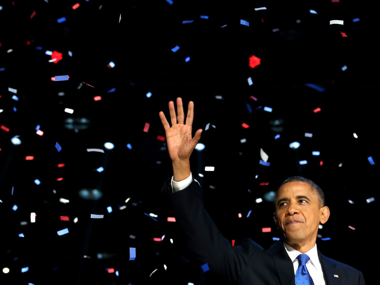 President Barack Obama waves to supporters after his victory speech at McCormick Place on election night November 6, 2012, in Chicago, Illinois.