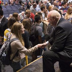 Assemblies of God Chief Executive Officer George Wood talks with a BYU student after speaking as part of the university's Faith, Family and Society lecture series in the Varsity Theater of the Wilkinson Student Center on Sept. 16.