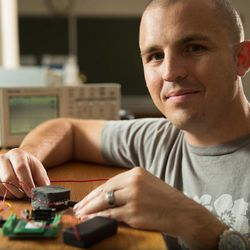 Jake Merrell discovered a new phenomenon, a piezoelectric response in a piece of foam treated with nano particles.