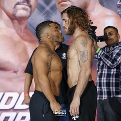 Deron Winn and Tom Lawlor face off at the Liddell vs. Ortiz 3 ceremonial weigh-ins in Inglewood, Calif.