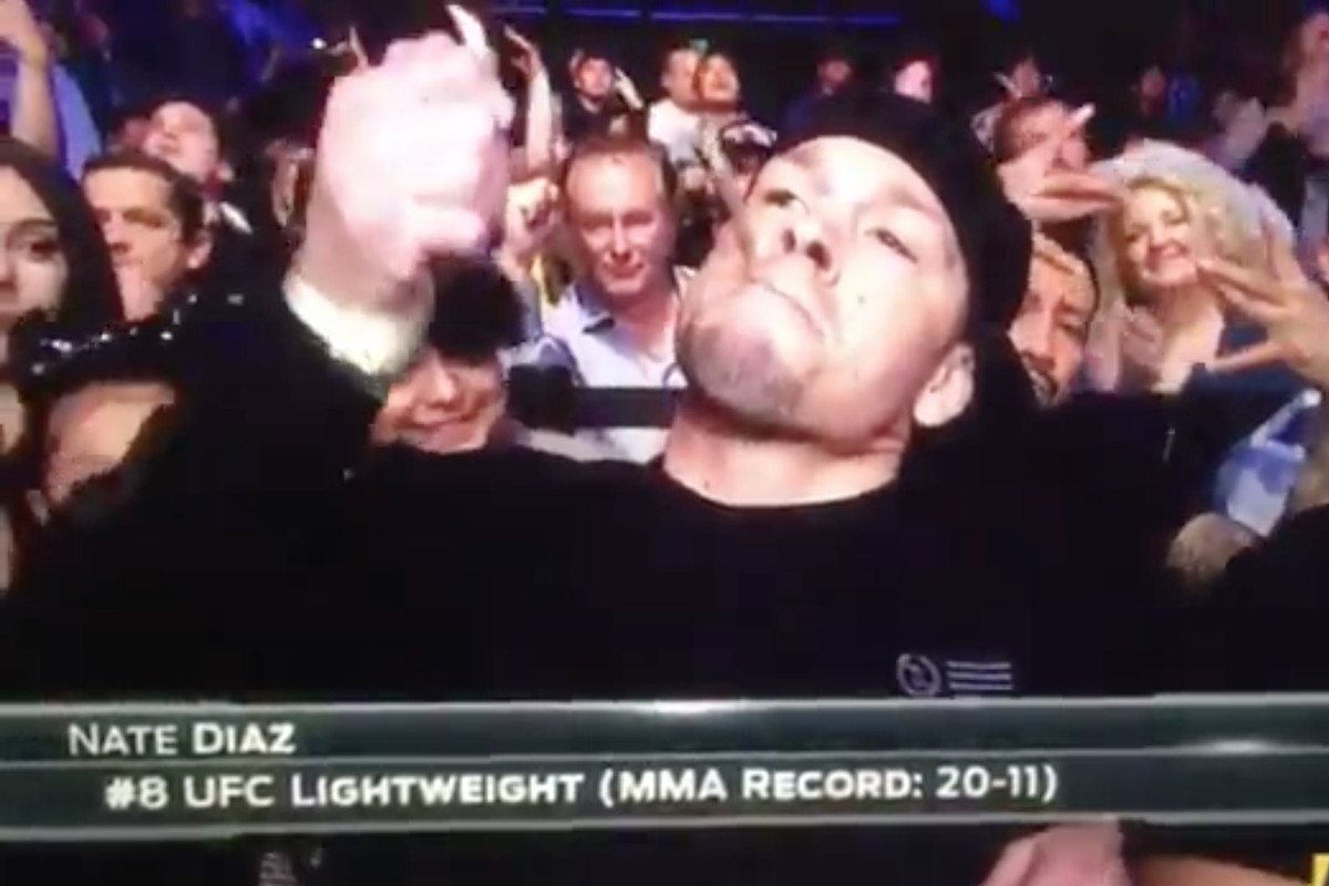 Video: Nate Diaz nearly lights up joint on live TV during UFC Austin