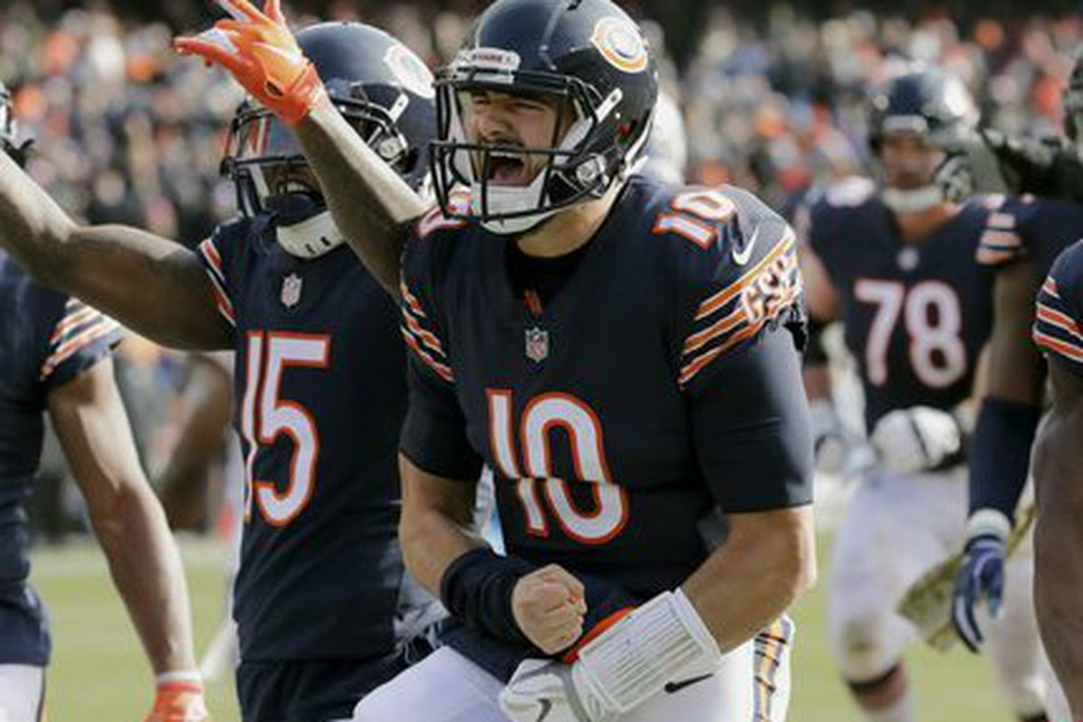 3b2968241 Bears quarterback Mitch Trubisky celebrates after running for a touchdown  against the Lions