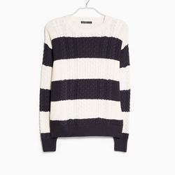 """Mango striped cable-knit sweater, <a href=""""http://shop.mango.com/US/p0/women/clothing/cardigans-and-sweaters/jumpers/striped-cable-knit-sweater/?id=33013507_N1&n=1&s=prendas.cardigans&ident=0__0_1414436683911&ts=1414436683911"""">$44.99</a>"""