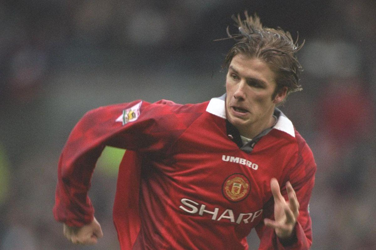 David Beckham of Man Utd in action