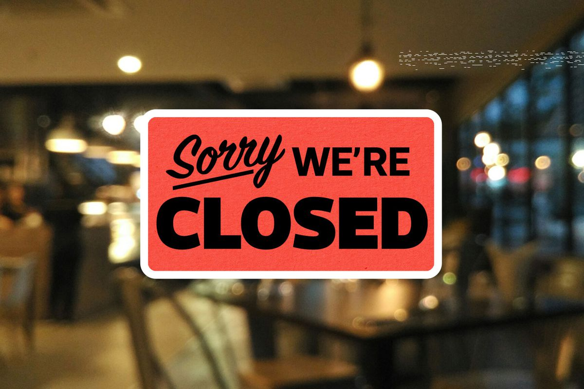 An illustrated sign that says Sorry We're Closed over a blurred restaurant dining room in the evening.