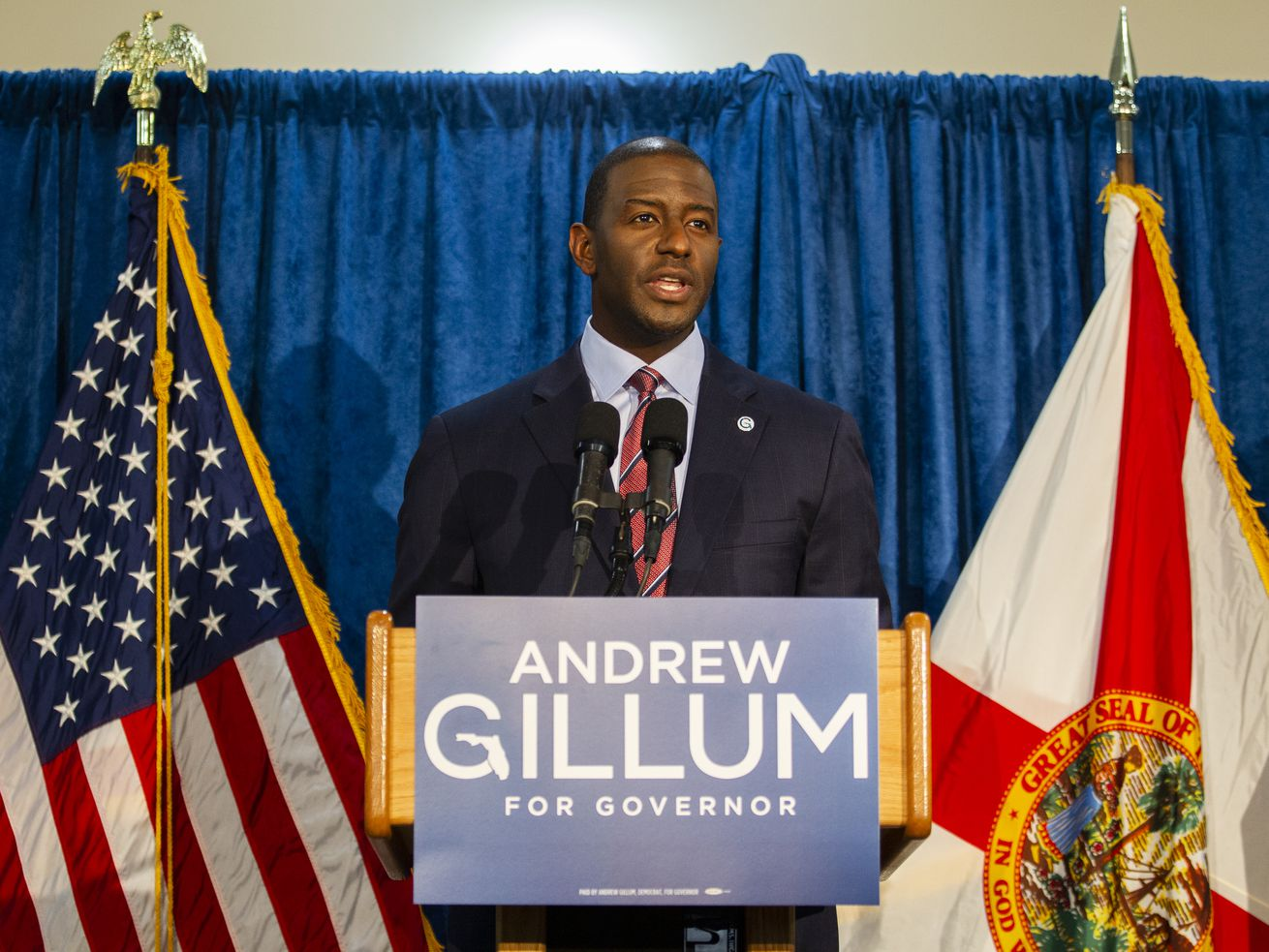 Florida gubernatorial candidate Andrew Gillum held a press conference in Tallahassee, Florida, one week before conceding the race.