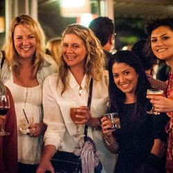 NYC chefs Anita Lo (far left) and Amanda Freitag (center) at Thursday's Eater/LM afterparty.