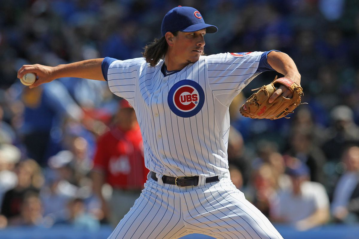 CHICAGO, IL - APRIL 08:  Starting piutcher Jeff Samardzija #29 of the Chicago Cubs delivers the ball against the Washington Nationals at Wrigley Field on April 8, 2012 in Chicago, Illinois.  (Photo by Jonathan Daniel/Getty Images)