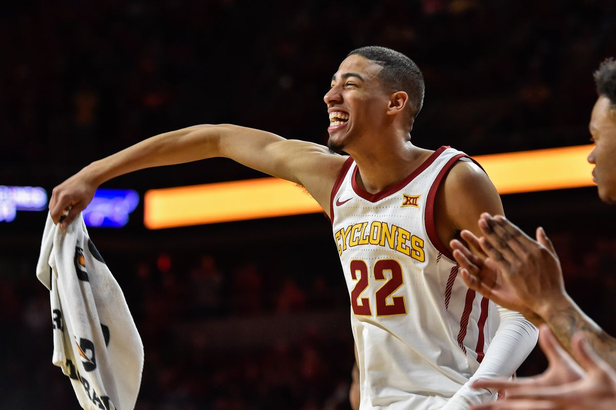 Iowa State Cyclones guard Tyrese Haliburton reacts during the second half against the Kansas State Wildcats at Hilton Coliseum.