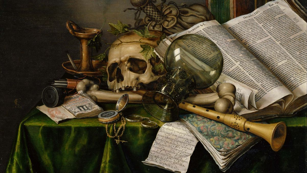 Vanitas. Still Life with Books, Manuscripts and a Skull. Found in the collection of National Museum of Western Art, Tokyo. Hulton Fine Art Collection