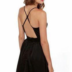 """<a href=""""http://www.lulus.com/products/got-it-girlfriend-backless-black-dress/52207.html""""> Lulu's Got It Girlfriend backless black dress</a>, $48 lulus.com"""