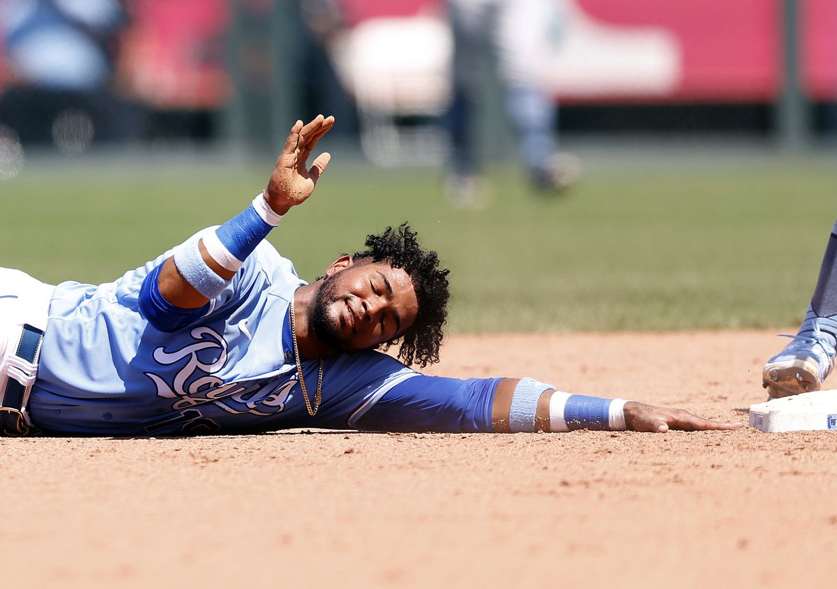 Kelvin Gutierrez #19 of the Kansas City Royals reacts after over-running second base and being tagged out while attempting to steal during the 5th inning of game at Kauffman Stadium on June 20, 2021 in Kansas City, Missouri.