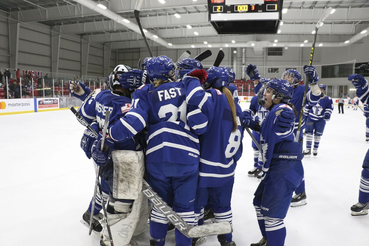 The Toronto Furies celebrate a win against the Montreal Canadiennes