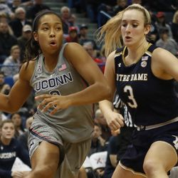 UConn's Megan Walker (3) drives past Notre Dame's Marina Mabrey (3) during the Notre Dame Fighting Irish vs UConn Huskies women's college basketball game in the Women's Jimmy V Classic at the XL Center in Hartford, CT on December 3, 2017.
