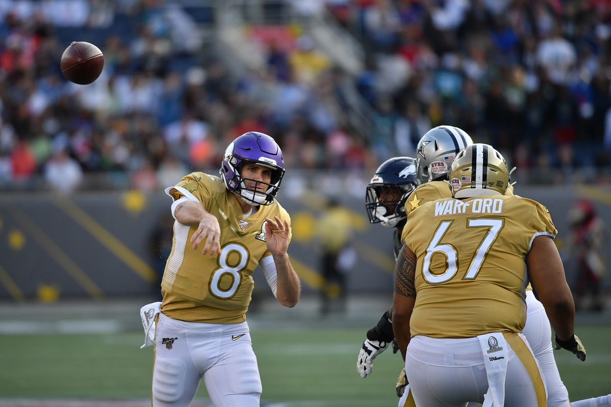 Kirk Cousins #8 of the Minnesota Vikings throws a touchdown pass in the second half of the 2020 NFL Pro Bowl at Camping World Stadium on January 26, 2020 in Orlando, Florida.