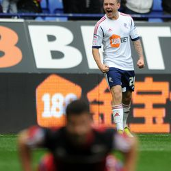Bolton Wanderers v Bristol City - npower Championship Caption: BOLTON, ENGLAND - OCTOBER 20: Jay Spearing of Bolton Wanderers celebrates scoring his side's second goal during the npower Championship match between Bolton Wanderers and Bristol City at Reeb