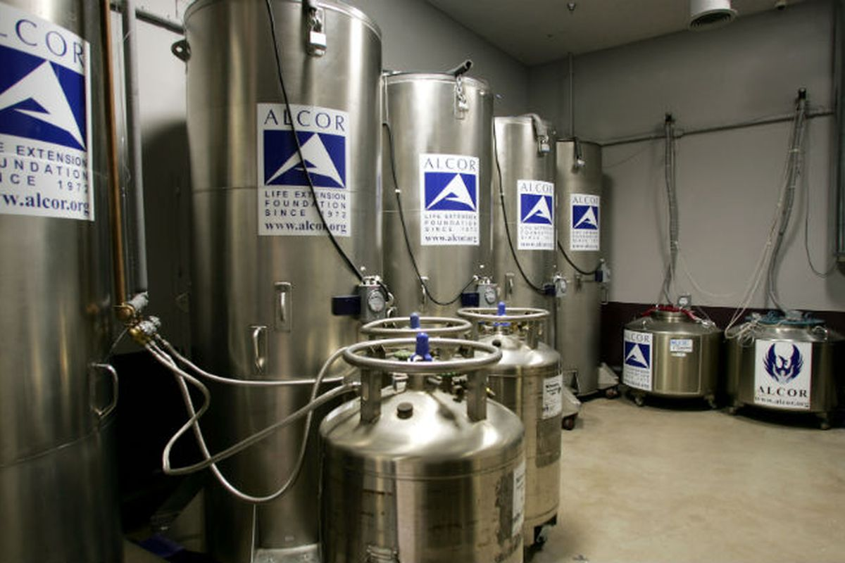 Cryogenic freezing chambers at the Alcor Life Extension laboratory