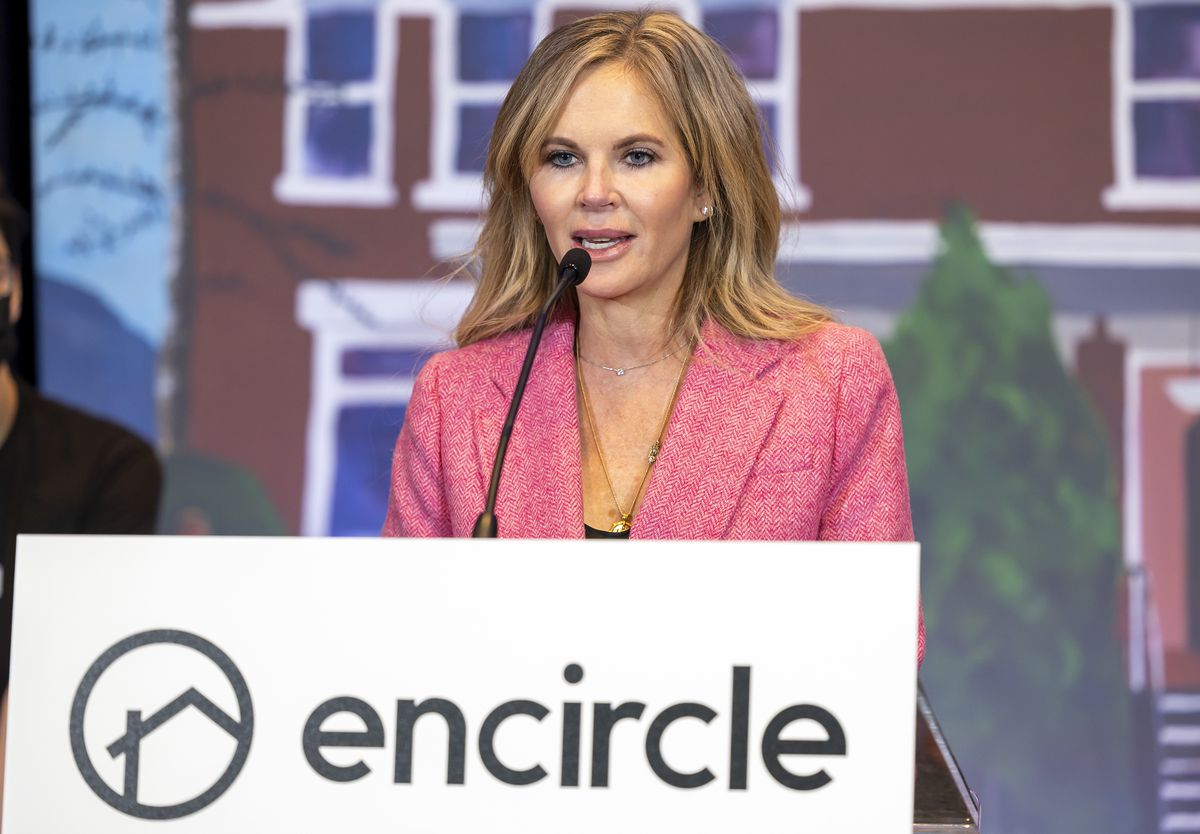 Encircle founder and CEO Stephenie Larsen speaks during a press conference at the Silicon Slopes Summit at the Salt Palace in Salt Lake City on Wednesday, Oct. 13, 2021.