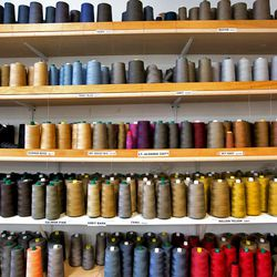 A rainbow's selection of thread for the premium denim line.