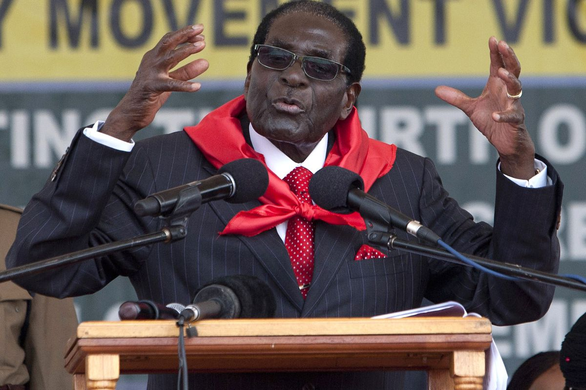 Robert Mugabe in February