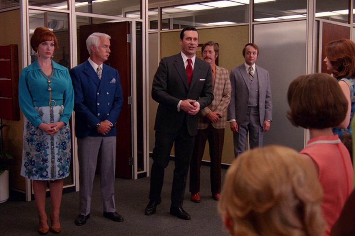 The partners of Sterling Cooper & Partners deliver what they hope is some good news.