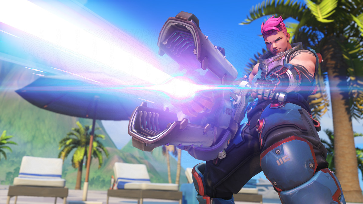 Overwatch - Zarya fires a full force Graviton Beam.
