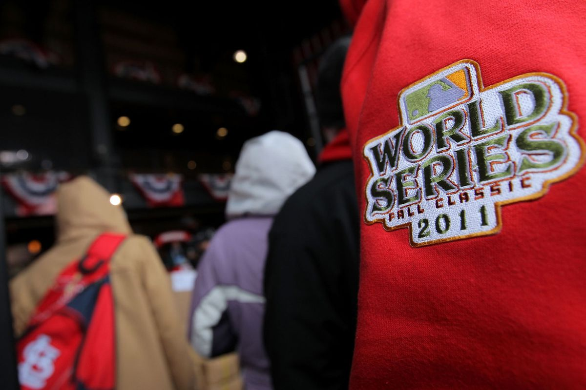 ST LOUIS, MO - OCTOBER 19:  A 2011 World Series logo is seen prior to Game One of the MLB World Series between the Texas Rangers and St Louis Cardinals on October 19, 2011 in St Louis, Missouri.  (Photo by Doug Pensinger/Getty Images)