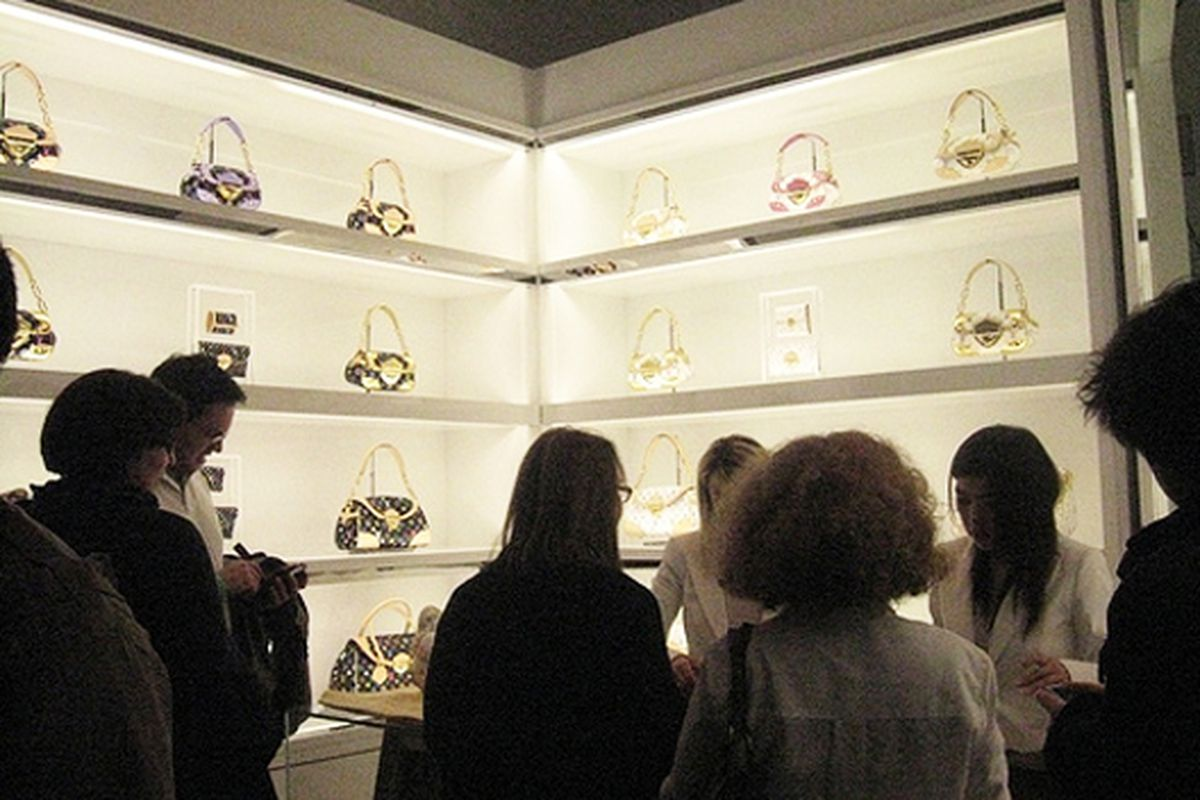 LV bags on sale at the Murakami show at the Brooklyn Museum