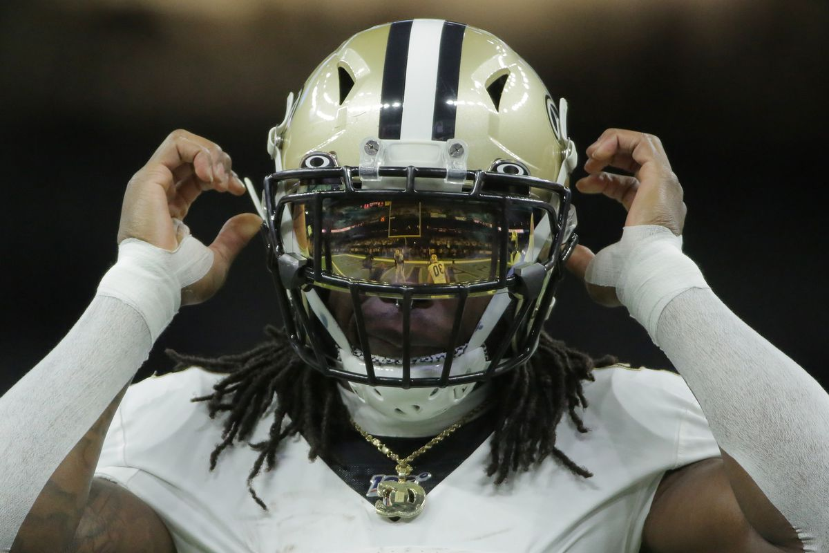 Jan 5, 2020; New Orleans, Louisiana, USA; New Orleans Saints running back Alvin Kamara reacts as he warms up before a NFC Wild Card playoff football game against the Minnesota Vikings at the Mercedes-Benz Superdome.