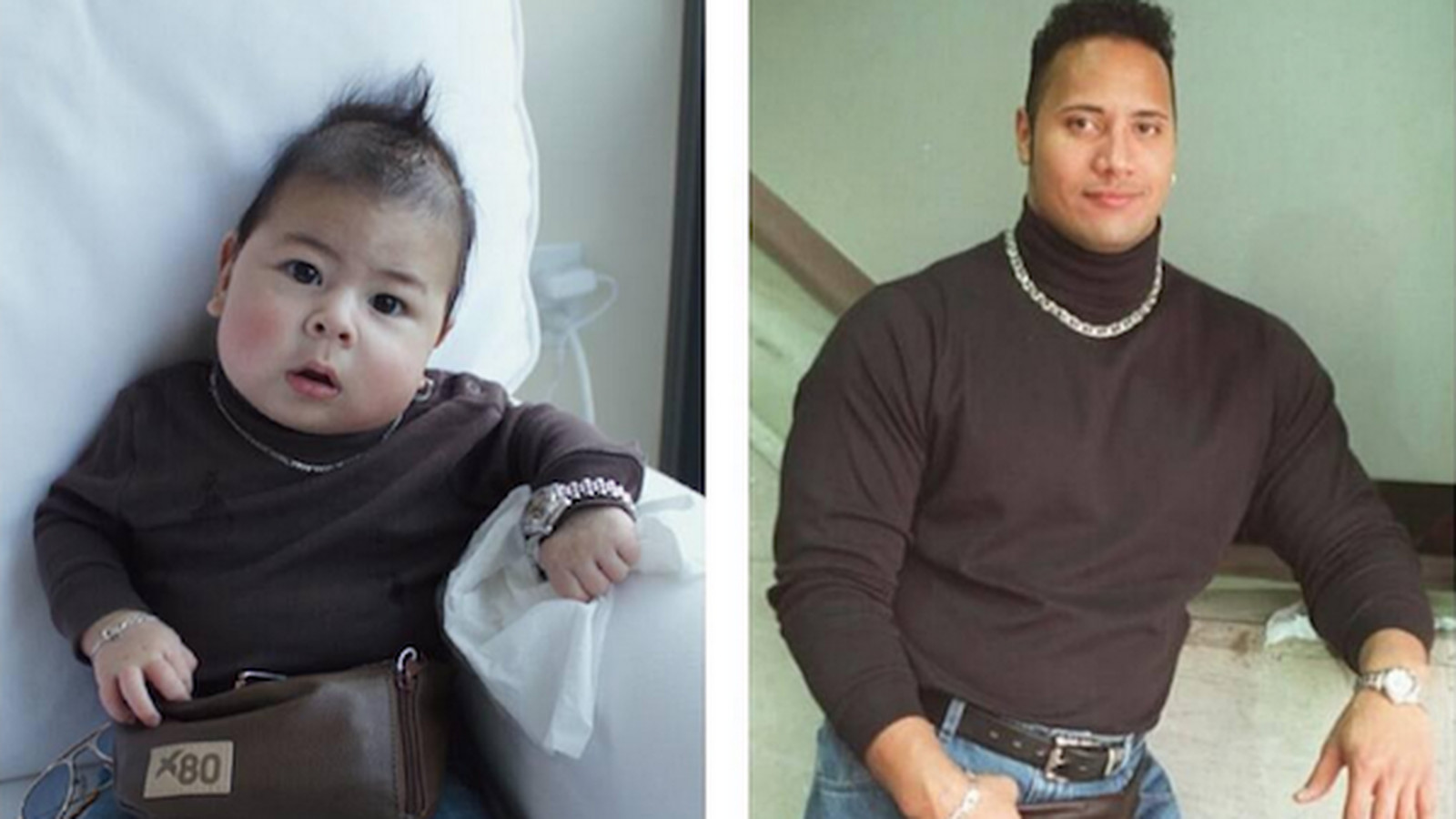 Adorable Baby Dresses Up As The Rock In The 1990s