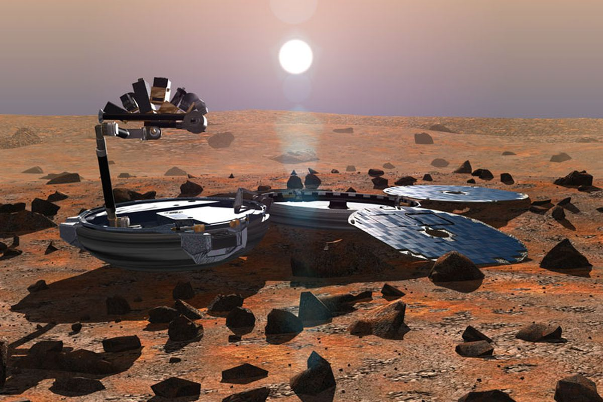 A rendering of the Beagle-2, as it was meant to appear on Mars' surface.