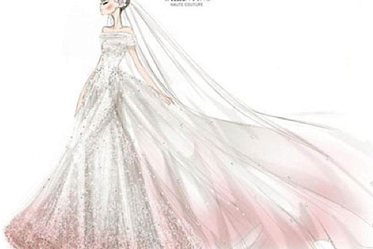 """Hathaway's dress was indeed pink, via <a href=""""http://www.shefinds.com/2012/photo-the-sketch-behind-anne-hathaways-valentino-wedding-dress/"""">Shefinds</a>"""