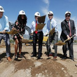 From left, Dick Celeste, chairman of the board of the U.S. Olympic Museum, joins Benita Fitzgerald Mosley, an Olympic Gold medalist, Colorado Springs, Colo., Mayor John Suthers, Colorado Governor John Hickenlooper and Scott Blackmun, chief executive of the U.S. Olympic committee, during a ceremonial groundbreaking for a new Olympic museum Friday, June 9, 2017, in Colorado Springs, Colo. The $75-million project will be built just blocks away from the U.S. Olympic Committee headquarters an the U.S. Olympic Training Center and breathe new life into the city's core.