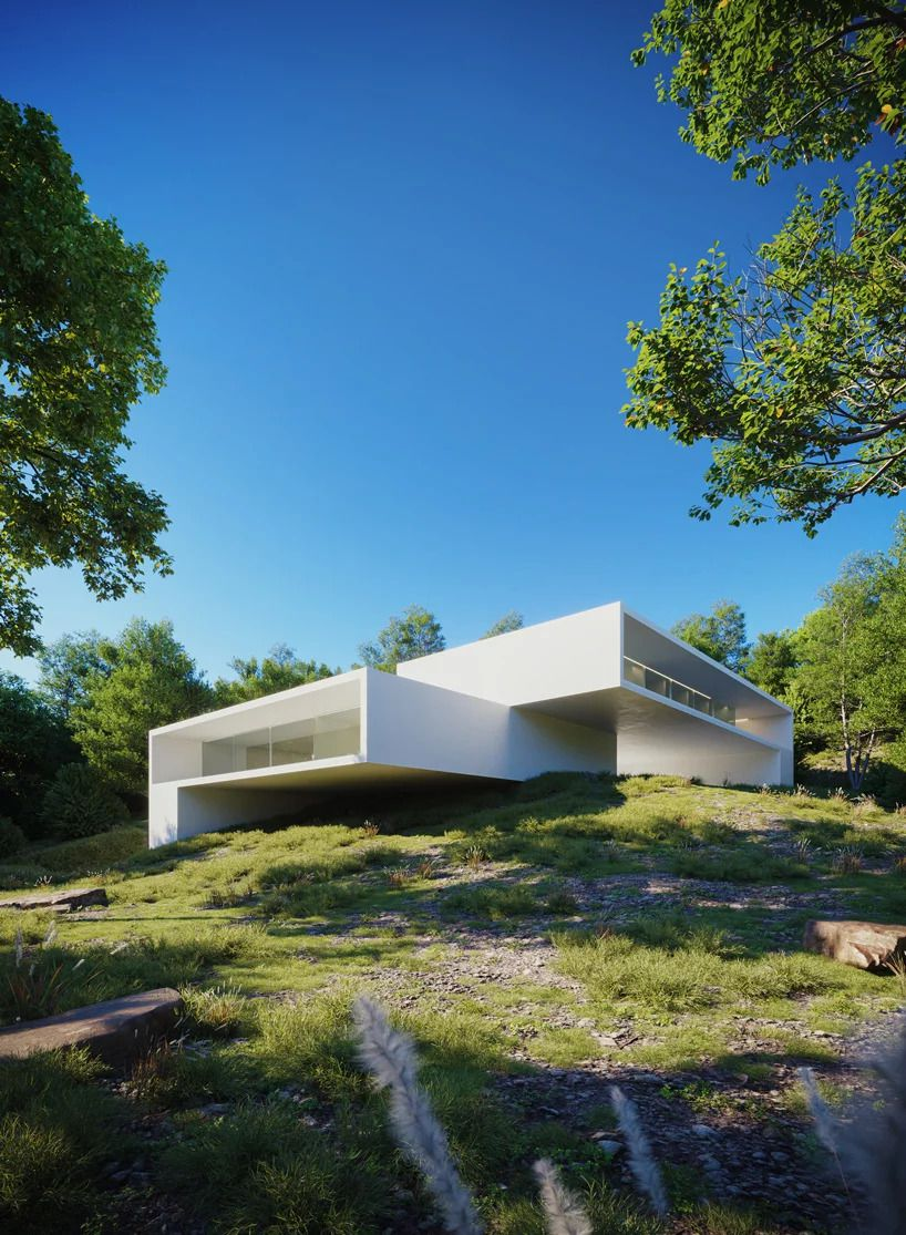 White house on green hill features a stack of two boxy volumes.