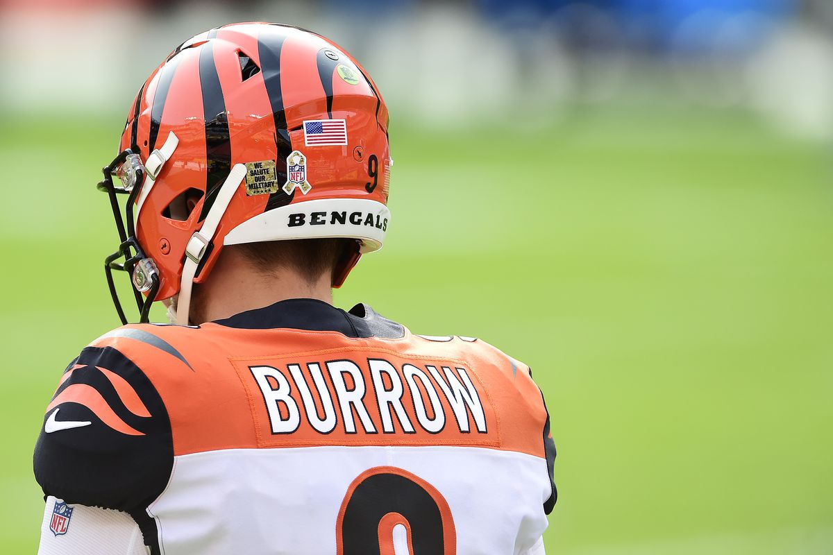 Joe Burrow #9 of the Cincinnati Bengals warms up before a game against the Washington Football Team at FedExField on November 22, 2020 in Landover, Maryland.
