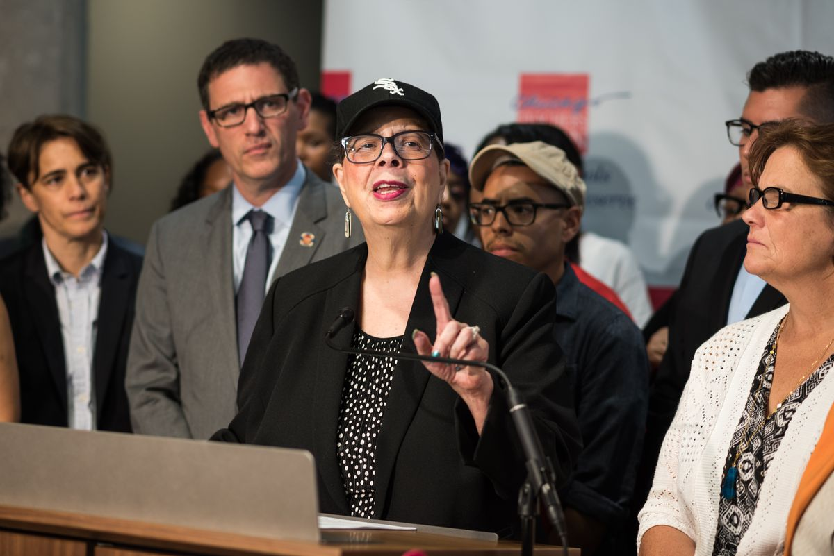 Chicago Teachers Union President Karen Lewis discusses CPS budget cuts and equal funding at CTU Headquarters on July 20, 2017.