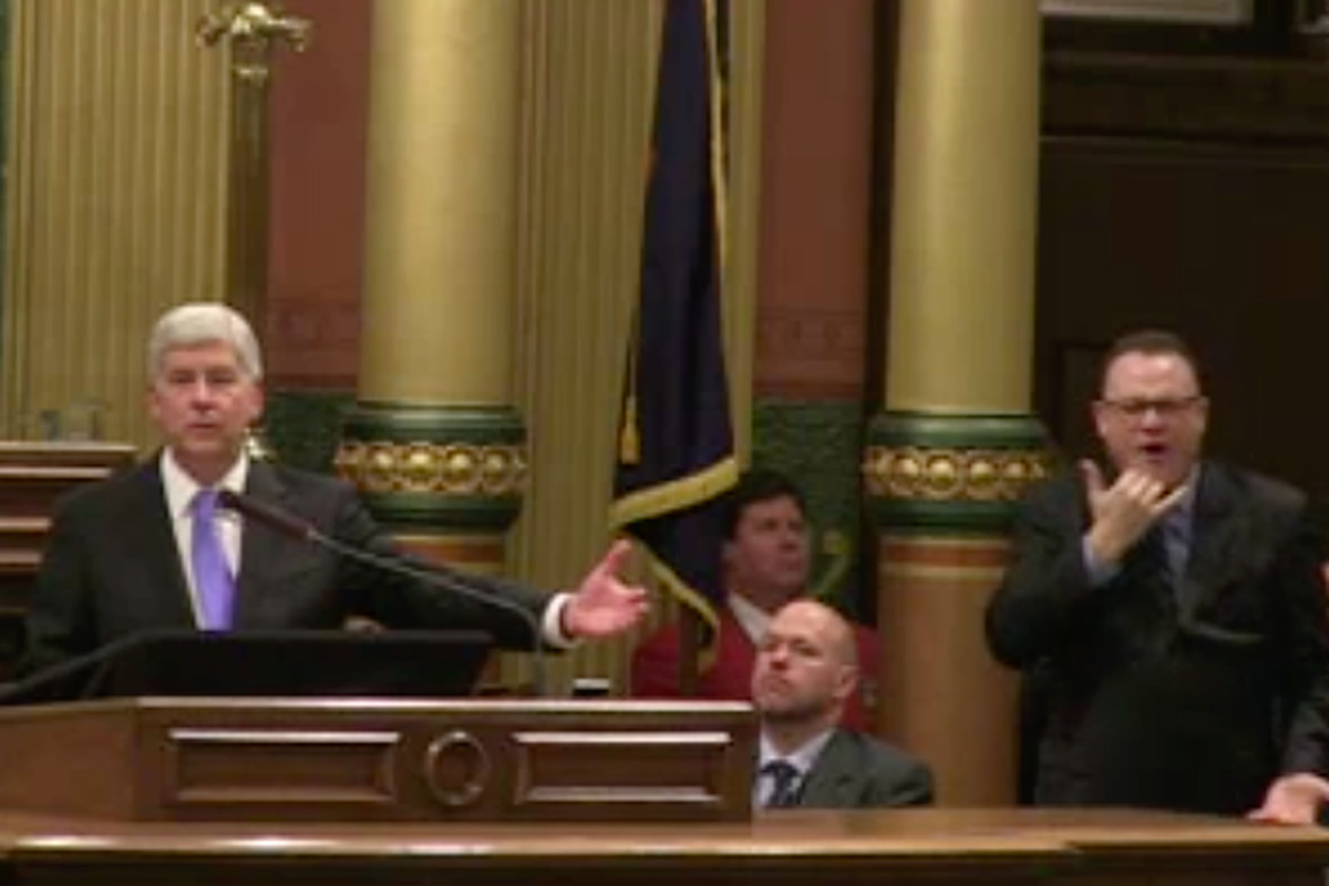Gov. Rick Snyder delivers his eighth and final State of the State address, Jan. 23, 2018.