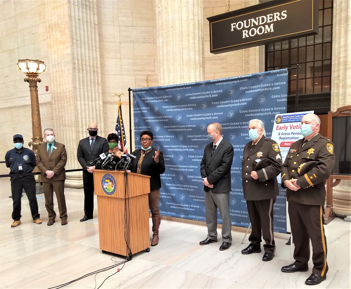On Monday, Oct. 19, 2020, Cook County Clerk Karen Yarbrough announced the opening of a super site for suburban voters at Union Station. The site was opened in partnership with Amtrak.