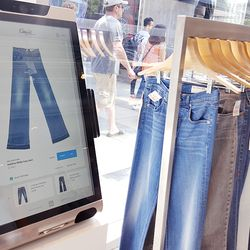 Built with bar code scanners, these digital stations will tell you if there are more sizes in stock online and offline. Shoppers can also place orders for home delivery, find similar styles, request sizes to be sent to a fitting room, and more.